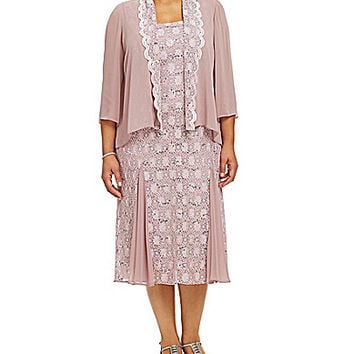 Alex Evenings Plus Tea-Length Lace Jacket Dress - Rose