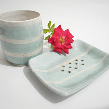 Pottery Soap Dish and Toothbrush Holder, Blue and White Bathroom Set, Bathroom Decor, Handmade Bathroom Ceramics