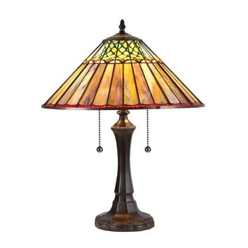 "Grace, Tiffany-Style 2 Light Geometric Table Lamp 16"" Shade"