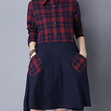 Casual Turn Down Collar Patch Pocket Plaid Skater Dress