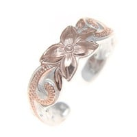 6MM PINK ROSE GOLD STERLING SILVER 925 HAWAIIAN PLUMERIA FLOWER SCROLL TOE RING