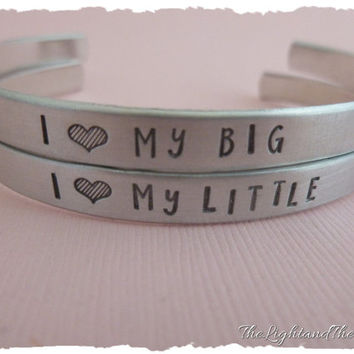 Hand stamped cuff bracelets - I Love my Big - I Love my Little - hand stamped jewelry - sorority sisters - big little - set of two