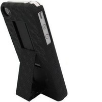 Oriongadgets Shell Case / Holster Combo w/ Kickstand for Apple iPhone 4 (Black) (Includes OrionGadgets Cleaning Cloth)