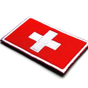 National Country Flag Switzerland  patch hook back Embroidered  military tactical badges  for vest jacket custom