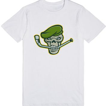 Green Beret Skull Ice Hockey Mascot | T-Shirt | SKREENED