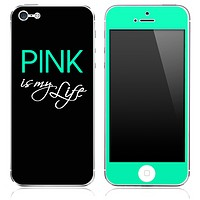 Trendy Green and Black - Pink is my Life - Skin for the iPhone 3gs, 4/4s, 5, 5s or 5c