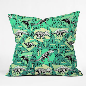 Chobopop Nineties Dinosaur Skeleton Pattern Outdoor Throw Pillow