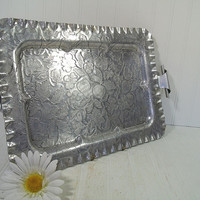 Vintage Hand Forged Aluminum Metal Oversized Serving Tray with Scroll Handles - Embossed Silver Color Floral Design Wedding Shower Platter