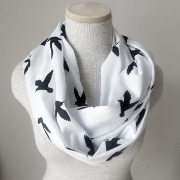 Infinity Scarf - Bird Scarf - Black on White