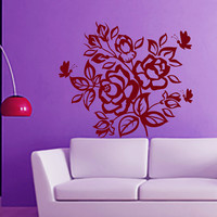 Flower Wall Decals Rose Butterfly Flowering Blossom Stickers Living Room Decor Vinyl Decal Sticker Art Mural Bedroom Kids Room Decor MR320