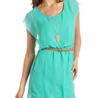 Belted Chiffon A-Line Dress: Charlotte Russe