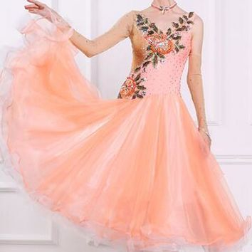 customize  elegant orange Puff flower long  sleeve Fox trot   Waltz  tango  competition ballroom  dance dress handmade beading