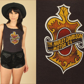 ViNtAgE 80's Harley Davidson Tank Top // Black Cotton Lace Trim // Motorcycle Biker Moto // Womens S / M