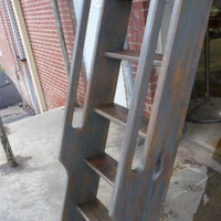Ship's Ladder for Loft/Library/Attic - Reclaimed Oak - 85% Grey Pickled Finish
