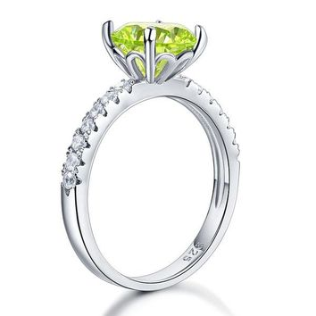925 Sterling Silver Bridal Wedding Promise Ring 2 Carat Simulated Green Peridot