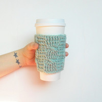 Cable Stitch Coffee Cozy in Seafoam Green Wool, ready to ship.