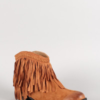 Qupid Faux Suede Fringe Ankle Bootie Color: Taupe, Size: 8.5