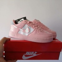 """""""Nike Air Force 1 """" Women Casual Fashion Multicolor Stripe Plate Shoes Sneakers"""