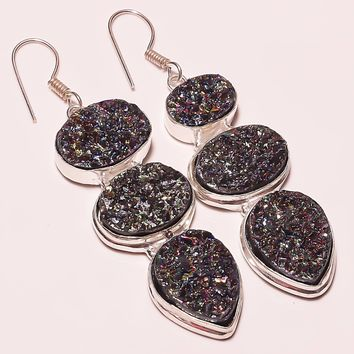 "Natural Sparkling Druzy Gemstone Silver Plated Earring 2.5""(E-809)"