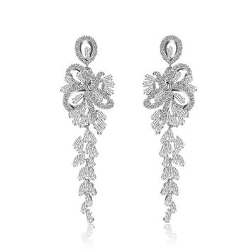 Luxurious Romantic CZ Long Hanging Chandelier Earrings For Bridal Mariage Wedding Party Jewelry silvery color