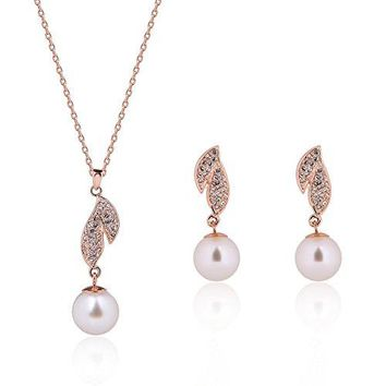 SHIP BY USPS: JUST N1 Rose Gold Pearl Jewelry Sets Fashion Pearl Necklace Earrings Wedding Party Accessories For Women Pearl White