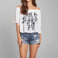 Embroidered Off-the-Shoulder Peasant Blouse