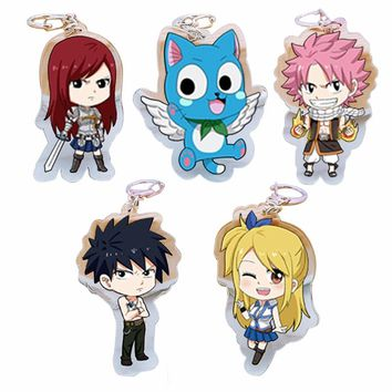 Fairy Tail Anime Natsu Acrylic Keychain Metal Chain Cute Cartoon Key Chains Gift