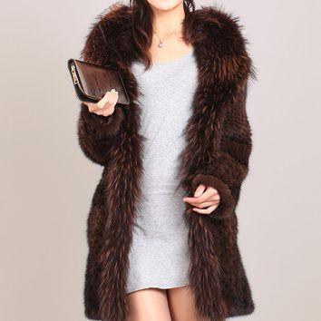 2016 mink fight real  mink fur coat medium-long mink knitted plus size clothing