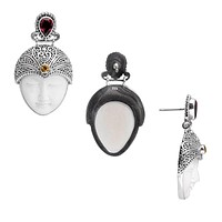 SE-7991-CO1 Sterling Silver Earring With Garnet, Citrine, Bone Face