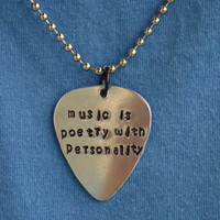 Music is Poetry With Personality Guitar Pick Necklace Inspired by Ross Lynch of R5