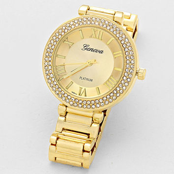 Crystal Roman Numeral Dial Oyster Band Watch