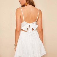 Knot Back Embroidery Eyelet Cami Dress