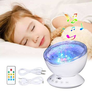12 LED 7 Colors Baby Kids Ocean Wave Star Projector Remote Control TF Cards Music Player Speaker LED Night Light