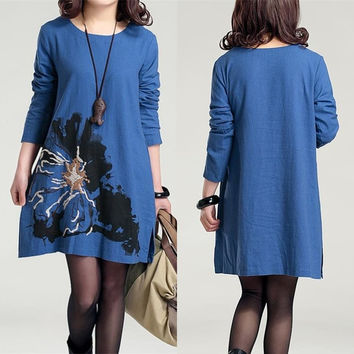Embroidered Cotton Maternity Dress Plus Size Linen Clothes for Pregnant Women Printed Autumn Winter Clothing For Pregnancy 9056# = 1946787268