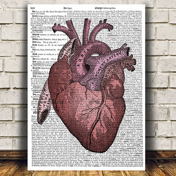 Gothic print Heart anatomy poster Macabre decor Medical print RTA813