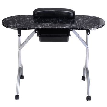 Portable Manicure Nail Table Station Desk Spa Beauty Salon Equipment