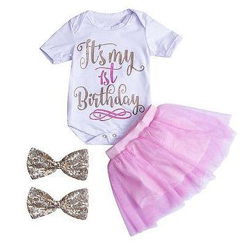 Baby Kids Girls Outfits Clothes Letter T-shirt Tops+ Pink Lace Skirt Summer Sun suit Clothing