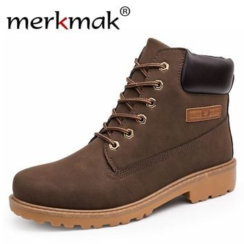 Men Martin Boots Outdoor Waterproof Suede Leather Boots High Quality Snow Shoes