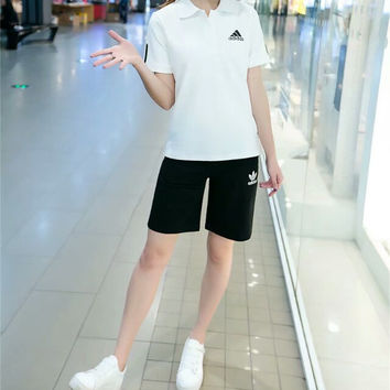 """Adidas"" Fashion Casual Letter Print Lapel Short Sleeve Set Two-Piece Sportswear"
