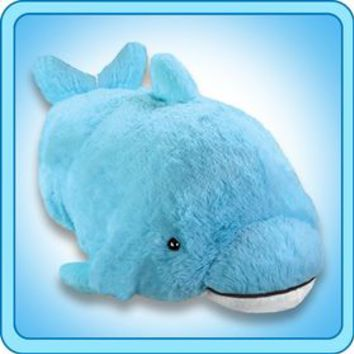 Pillow Pet Squeaky Dolphin 16 inch Large Folding Plush Stuffed Animal Pillow