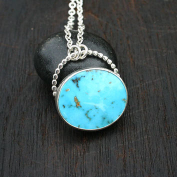 Turquoise pendant necklace. Sterling silver and blue Kingman turquoise necklace. Handmade American turquoise - unique, modern one of a kind.