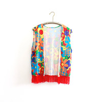 Vintage Hippie Costume Vest with Colorful Flower Print and Red Fringe
