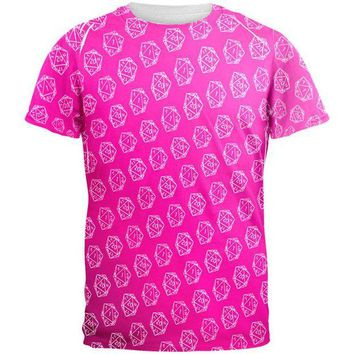 DCCKU3R D20 Gamer Critical Hit and Fumble Pink Pattern All Over Mens T Shirt