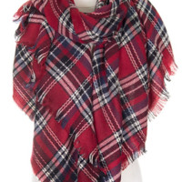 Blanket Scarf- Red