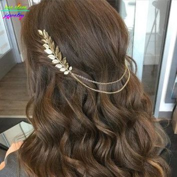 3 Styles ! Summer Style Bohemia Leaves Head Crown Gold/Silver Chain And Leaves Hair Comb Wedding Hair Accessories Bijoux