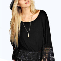 Black Crochet Lace Trim Swing Top