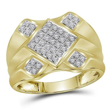 10kt Yellow Gold Men's Round Diamond Diagonal Square Cluster Ring 1/3 Cttw - FREE Shipping (US/CAN)