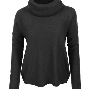 LE3NO Womens Loose Fit Cowl Neck Long Sleeve Knit Sweater