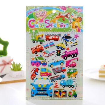 Police Car Tax Bus Different Car Pattern Cute Scrapbooking Stickers Motorcycle Bubble Kawaii Stickers Kids Art Stickers YSL054