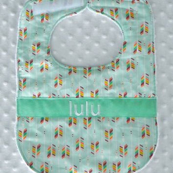 Personalized Bib with Matching Bow/Bow Tie - Gender Neutral Mint Multicolor Arrows
